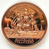 Medaille mit Kupferprägung von polierter Platte, Motive matt