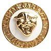 Ansteckpin 2-teilig aus Kupfer geprägt, vergoldet, Hartemaille weiß, Kopf geprägt und aufgesetzt