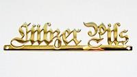 Schriftzug aus Messing gefräst, poliert, vergoldet